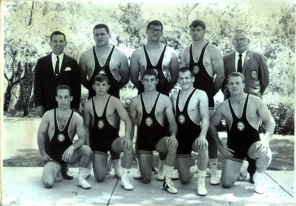 Coach Jimmy Miller (back left) and the 1967 United States' Pan American Games wrestling team.