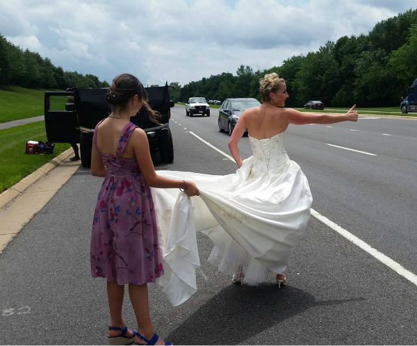 Amanda - Tony's bride - thumbing for a ride!