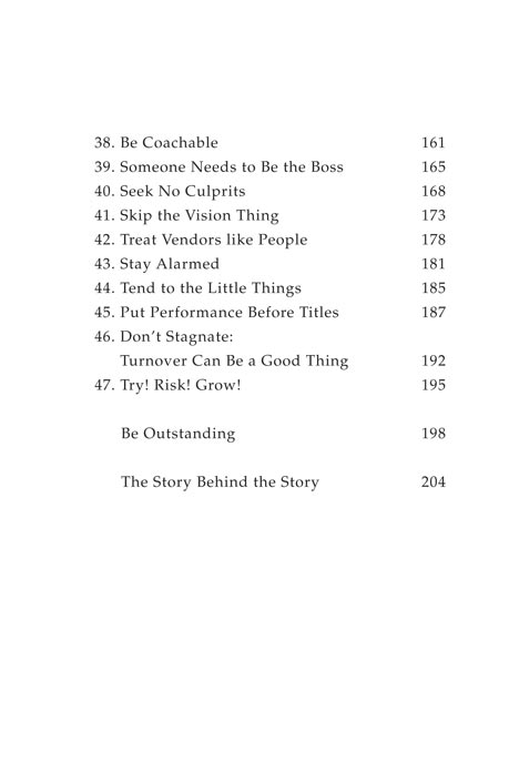 Outstanding! Table of Contents